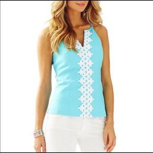 Lilly Pulitzer Magnolia Embroidered Halter Top 00